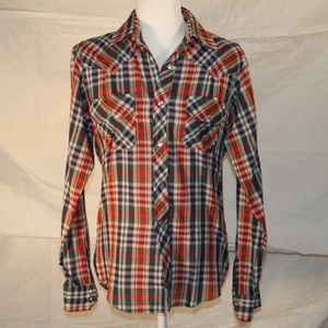Plaid Van Heusen shirt with pearl snaps, size 20